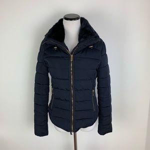 Zara Puffy Coat Jacket with Hood Black Medium